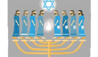 Illustration on Hanukkah by Linas Garsys/The Washington Times