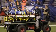 Indianapolis Colts tight end Brandon Williams (85) is taken off the field after being injured during the first half of an NFL football game against the Denver Broncos in Indianapolis, Thursday, Dec. 14, 2017. (AP Photo/AJ Mast)