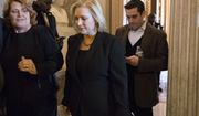 Sen. Kirsten Gillibrand, D-N.Y., joined at left by Sen. Heidi Heitkamp, D-N.D., leaves the chamber following a vote, on Capitol Hill, in Washington, Thursday, Dec. 14, 2017. Gillibrand, who's up for re-election next year and is considered a possible presidential contender in 2020, has been an outspoken voice in the national debate over how to confront sexual assault and harassment. She's argued that the rules in institutions from Congress to Hollywood to the U.S. military are set to benefit the powerful and the favored at the expense of the vulnerable. (AP Photo/J. Scott Applewhite)