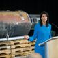 Nikki Haley, U.S. ambassador to the United Nations, unveiled recently declassified evidence Thursday that Iran is violating international law by funneling missiles to Houthi rebels in Yemen. (Associated Press)