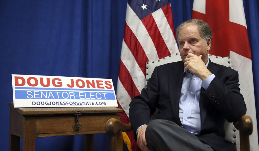 Democrat Sen.-elect Doug Jones speaks during an interview with The Associated Press Wednesday, Dec. 13, 2017, in Birmingham , Ala. (AP Photo/John Bazemore)
