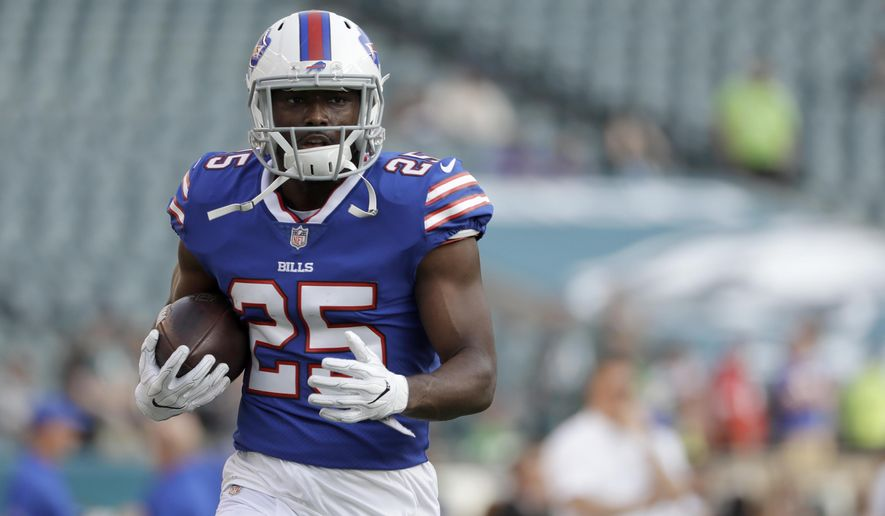 FILE-This Aug. 17, 2017, file photo shows Buffalo Bills' LeSean McCoy during an NFL preseason football in Philadelphia.  McCoy is on the cusp of reaching 10,000 career yards rushing as the Bills  host the Miami Dolphins, Sunday, Dec. 17. (AP Photo/Michael Perez, File)