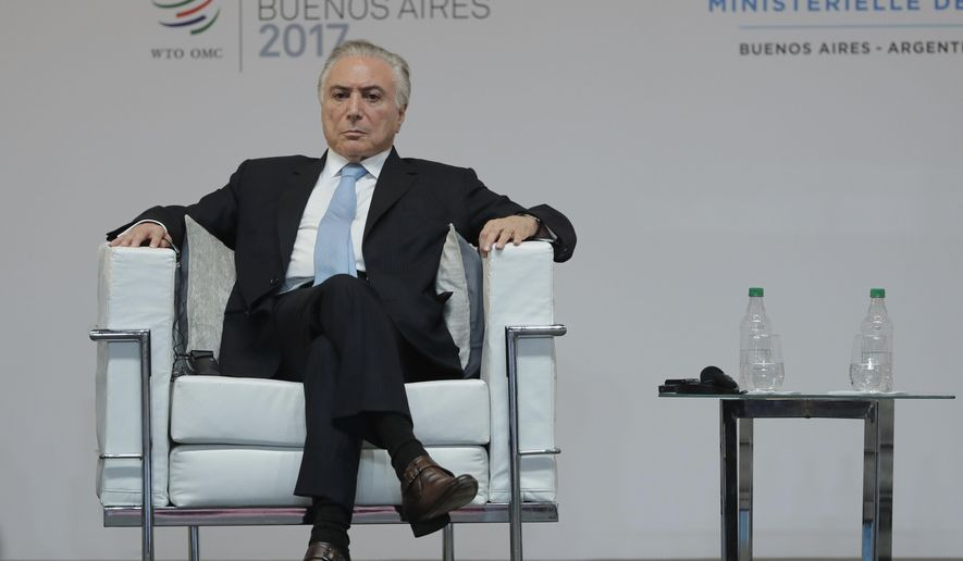 In this Dec. 10, 2017 photo, Brazil's President Michel Temer attends the opening ceremony of the World Trade Organization Ministerial Conference, in Buenos Aires, Argentina. Temer's presidential office says he successfully underwent minor surgery for a narrowing of his urethra. The procedure took place Wednesday afternoon, Dec. 13, at Sao Paulo's Sirio-Libanes Hospital. He is expected to return to Brasilia on Friday. (AP Photo/Natacha Pisarenko)
