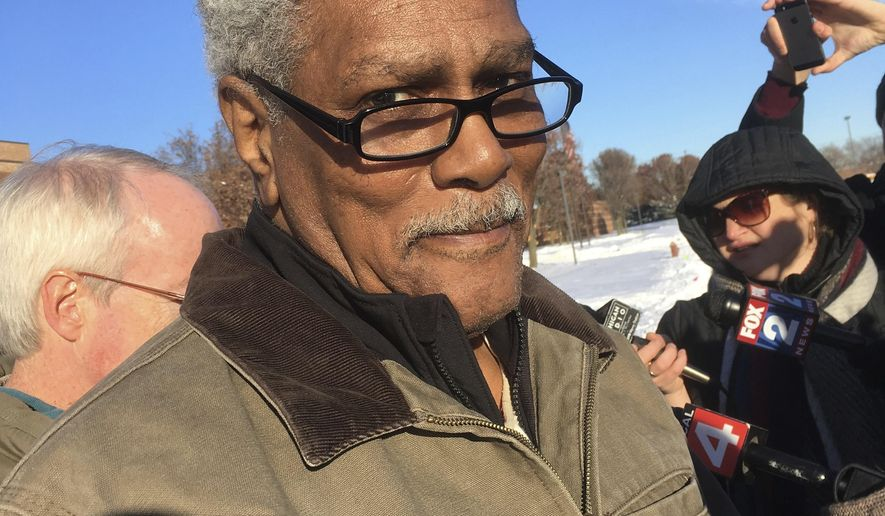 Richard Phillips is seen outside a Wayne County jail, Thursday, Dec. 14, 2017 in Detroit after being released after 45 years in prison. Phillips was released while prosecutors appeal a decision that granted him a new trial in a 1971 murder. Phillips has long declared his innocence in the fatal shooting of Gregory Harris. He was convicted largely on the testimony of a trial witness who's now dead. Phillips' big break occurred in 2014 when the Innocence Clinic at University of Michigan law school learned that another man said Phillips had absolutely no role. (AP Photo/Ed White)