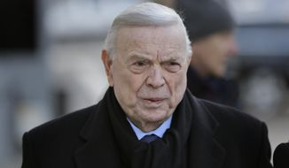Jose Maria Marin, of Brazil, arrives to federal court in the Brooklyn borough of New York, Wednesday, Dec. 13, 2017. Closing arguments are set to take place in the New York trial of three former South American soccer officials charged in the bribery scandal engulfing the sport's governing body. (AP Photo/Seth Wenig)