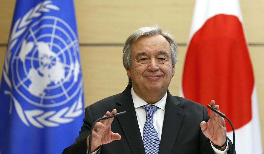 U.N. Secretary-General Antonio Guterres gestures while speaking during a joint news conference with Japanese Prime Minister Shinzo Abe at Abe's official residence in Tokyo Thursday, Dec. 14, 2017. Guterres is in Tokyo to participate in the Universal Health Coverage (UHC) Forum. (Toru Hanai/Pool Photo via AP)