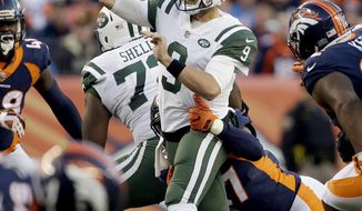 FILE - In this Sunday, Dec. 10, 2017, file photo, New York Jets quarterback Bryce Petty (9) throws against the Denver Broncos during the second half of an NFL football game in Denver. The Jets put up a measley 100 yards of offense last Sunday at Denver, the second-lowest total in franchise history. Offensive coordinator John Morton needs his unit to bounce back in a big way, even with Petty making his first start of the season at quarterback on the road at New Orleans.  (AP Photo/Jack Dempsey, File)
