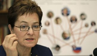 """FILE - In this March 6, 2017 file photo, Rep. Marcy Kaptur, D-Ohio, speaks during a press conference in Cleveland. Kaptur told members of her caucus that revealing clothes worn by staffers and some members of Congress are an """"invitation"""" for sexual harassment.  Kaptur's remarks were first reported by Politico after a private Democratic caucus meeting on Wednesday, Dec. 13.  (AP Photo/Tony Dejak, File)"""