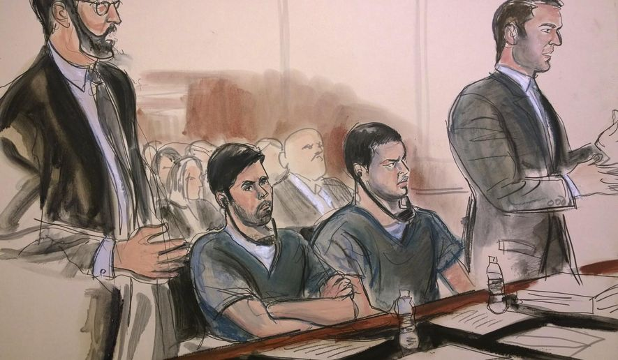 In this court room art, defendants Efrain Antonio Campos Flores, center left, and Franqui Francisco Flores de Freitas, center right, listen to proceedings during their sentencing hearing at federal court in New York, Thursday, Dec. 14, 2017. The men, who are nephews of Venezuela's first lady, were sentenced to 18 years in prison for their conviction on drug conspiracy charges. Standing at left is defense attorney John Zach and at right is defense attorney David Rody. (Elizabeth Williams via AP)
