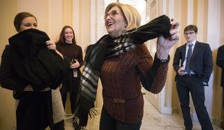 House Budget Committee Chair Diane Black, R-Tenn., arrives at the House Ways and Means Committee room to work with Chairman Kevin Brady, R-Texas, on the GOP tax bill conferee report, at the Capitol in Washington, Friday, Dec. 15, 2017. (AP Photo/J. Scott Applewhite)