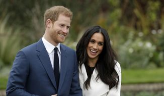 In this Monday Nov. 27, 2017, file photo, Britain's Prince Harry and his fiancee Meghan Markle pose for photographers during a photocall in the grounds of Kensington Palace in London. Prince Harry and Meghan Markle to marry on May 19, 2018. (AP Photo/Matt Dunham)