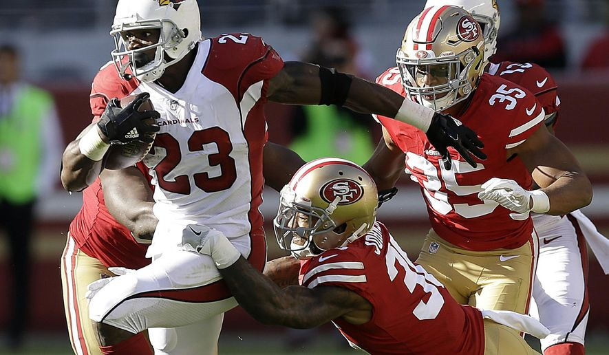 In this Sunday, Nov. 5, 2017, file photo, Arizona Cardinals running back Adrian Peterson (23) runs against the San Francisco 49ers during the first half of an NFL football game in Santa Clara, Calif. Adrian Peterson was placed on injured reserve Friday, Dec. 15, 2017 because of a neck injury, ending the running back's season after only six games with the Arizona Cardinals. (AP Photo/Ben Margot) ** FILE **