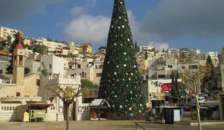 A 2012 photo depicting Nazareth, Israel, around Christmas. Photo credit: Dr. Avishai Teicher of Pikiwiki Israel. Image accessed via Wikimedia Commons.