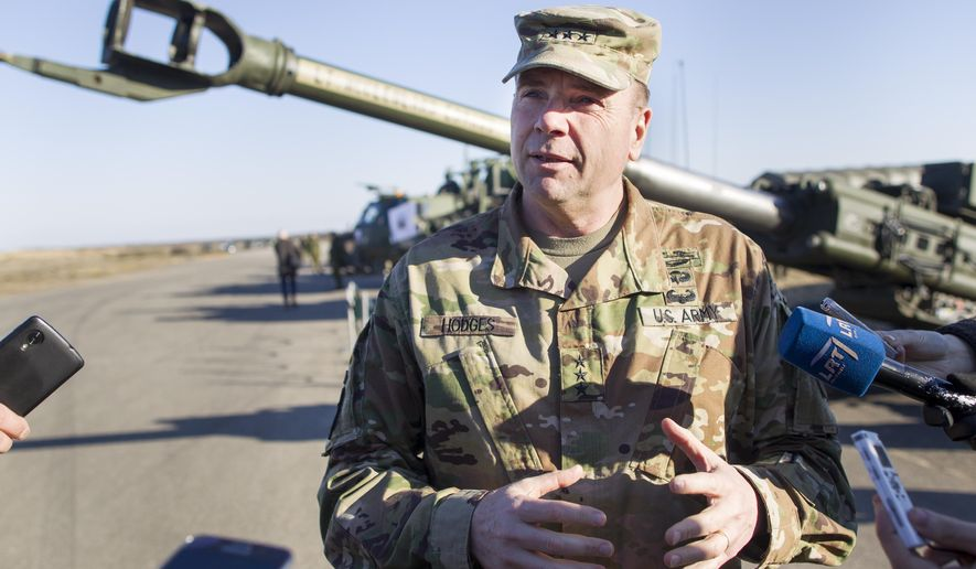 In this March 24, 2016, file photo Commander of U.S. Army Europe Lt. Gen. Ben Hodges speaks to the media during the joint NATO military exercise at the Rukla military base some 120 km. (75 miles) west of the capital Vilnius, Lithuania. Hodges will is retiring.  (AP Photo/Mindaugas Kulbis, file)
