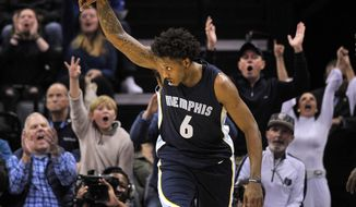 Memphis Grizzlies guard Mario Chalmers (6) reacts after scoring a three-point basket in the second half of an NBA basketball game against the Atlanta Hawks, Friday, Dec. 15, 2017, in Memphis, Tenn. (AP Photo/Brandon Dill)
