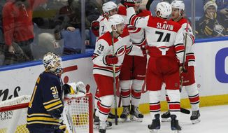 Carolina Hurricanes celebrate a goal during the third period of an NHL hockey game against the Buffalo Sabres, Friday, Dec. 15, 2017, in Buffalo, N.Y. (AP Photo/Jeffrey T. Barnes)