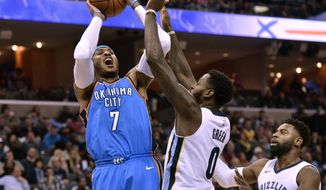 FILE - In this Dec. 9, 2017, file photo, Oklahoma City Thunder forward Carmelo Anthony (7) shoots against Memphis Grizzlies forward JaMychal Green (0) and guard Tyreke Evans (12) in the first half of an NBA basketball game, in Memphis, Tenn. Anthony returns Saturday to find a Knicks team that's moved on just fine without him. (AP Photo/Brandon Dill, File)