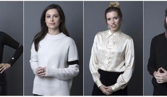 """In this combination photo, actress Alia Shawkat, from left, producer Lilly Burns, co-creator Sara-Violet Bliss and co-creator Charles Rogers pose for a portrait in New York on Nov. 27, 2017 to promote their series, """"Search Party."""" The season finale of the TBS series airs on Sunday. (Photos by Amy Sussman/Invision/AP)"""