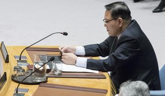 North Korean Ambassador to the United Nations Ja Song Nam speaks during a high level Security Council meeting on the situation in North Korea, Friday, Dec. 15, 2017 at United Nations headquarters. (AP Photo/Mary Altaffer)