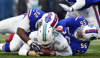 Miami Dolphins quarterback Jay Cutler (6) recovers the ball as Buffalo Bills' Adolphus Washington (92) and Ryan Davis (56) close in during the second half of an NFL football game Sunday, Dec. 17, 2017, in Orchard Park, N.Y. (AP Photo/Rich Barnes)