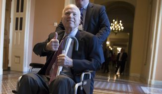 Sen. John McCain, R-Ariz., leaves a closed-door session where Republican senators met on the GOP effort to overhaul the tax code, on Capitol Hill in Washington. (AP Photo/J. Scott Applewhite, File)