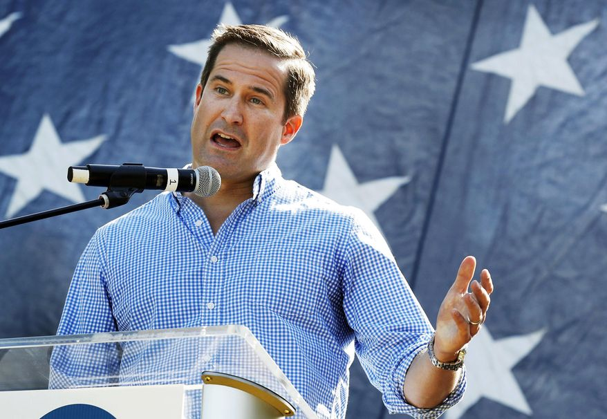In this Sept. 30, 2017, file photo, U.S. Rep. Seth Moulton, D-Mass., speaks during the Polk County Democrats Steak Fry in Des Moines, Iowa. (AP Photo/Charlie Neibergall, File)