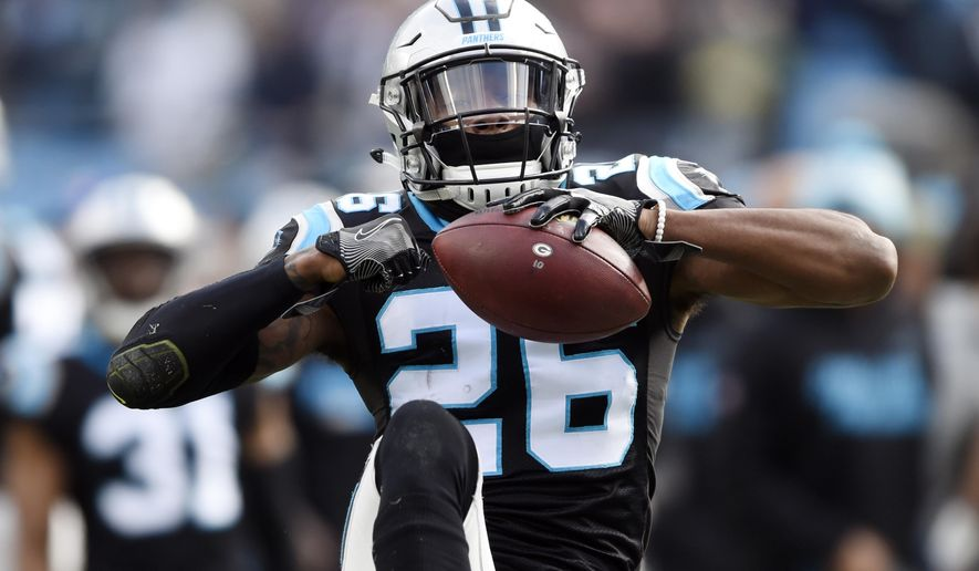 Carolina Panthers' Daryl Worley (26) celebrates his interception against the Green Bay Packers during the first half of an NFL football game in Charlotte, N.C., Sunday, Dec. 17, 2017. (AP Photo/Mike McCarn) ** FILE **