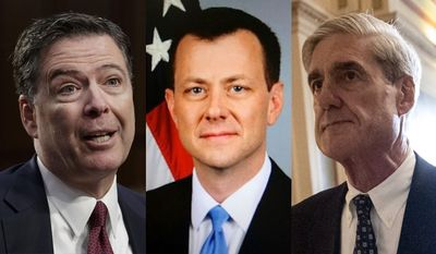 Former FBI Director James Comey, FBI special agent Peter Strzok and special counsel Robert Mueller are shown here, left to right. On  Jan. 18, 2018, the House House Intelligence Committee voted along party lines to release a FISA abuse memo, which, according to sources close to the committee, addresses text messages between FBI agent Strzok and FBI lawyer Lisa Page which prove the so-called Steele dossier was used to justify FISA warrants.
