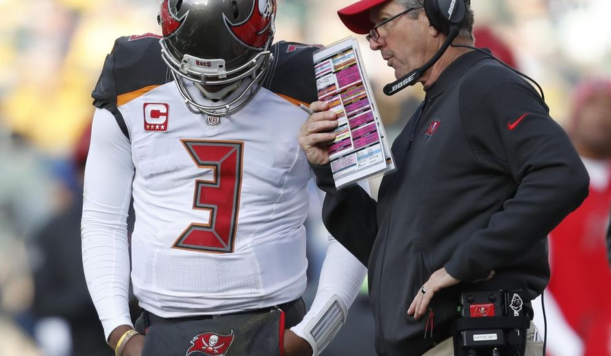 FILE - In this Dec. 3, 2017, file photo, Tampa Bay Buccaneers head coach Dirk Koetter talking to quarterback Jameis Winston during the second half of an NFL football game against the Green Bay Packers in Green Bay, Wis. Koetter says he and Winston have said all they need to say about the state of their relationship as coach and quarterback. (AP Photo/Matt Ludtke, File)