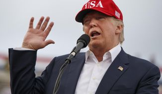 FILE - In this Saturday, Dec. 17, 2016 file photo, President-elect Donald Trump speaks during a rally at Ladd-Peebles Stadium in Mobile, Ala. On Saturday, Dec. 16, 2017, several people familiar with Trump's transition organization say special counsel Robert Mueller's team has gained access to thousands of private emails sent and received by Trump officials before the start of his administration. (AP Photo/Evan Vucci)