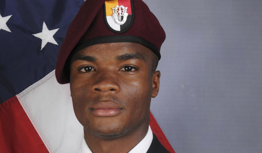 This file photo provided by the U.S. Army Special Operations Command shows Sgt. La David Johnson, who was killed in an Oct. 4 ambush in Niger. (U.S. Army Special Operations Command via AP, File)
