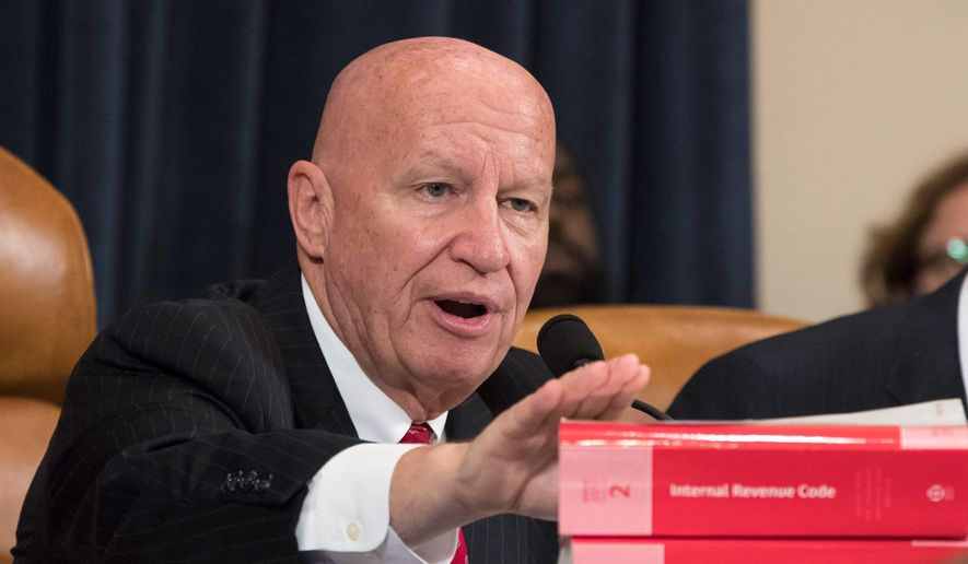 FILE - In this Nov. 6, 2017, file photo, House Ways and Means Committee Chairman Kevin Brady, R-Texas, makes a statement as his panel begins the markup process of the GOP's far-reaching tax overhaul as members propose amendments and changes to shape the first major revamp of the tax system in three decades, on Capitol Hill in Washington. If House Republicans have their way, victims of hurricanes in Texas and Florida could deduct their losses on their taxes. But victims of the California wildfires no longer could. (AP Photo/J. Scott Applewhite File)