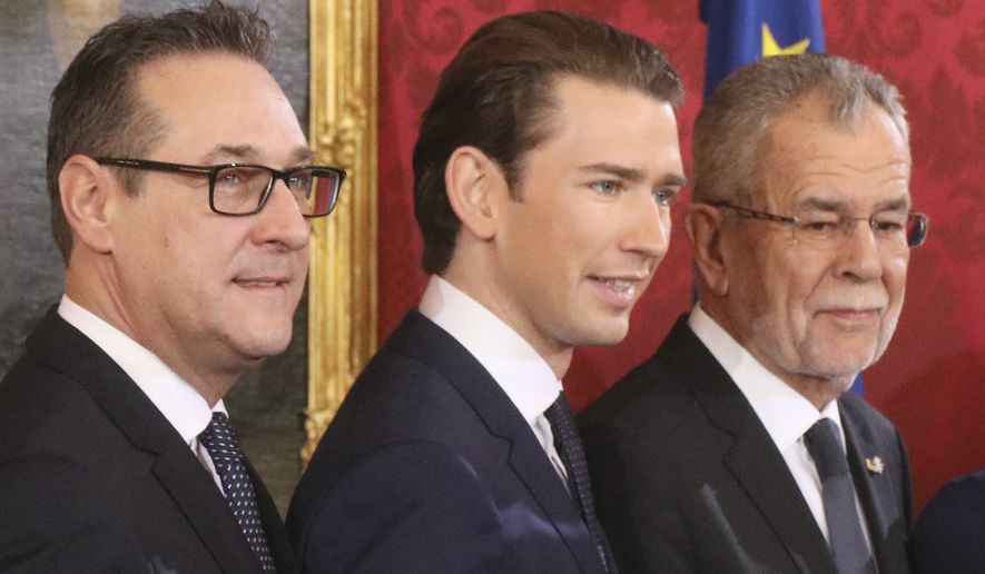 New Austrian Chancellor Sebastian Kurz is flanked by Austrian President Alexander Van Der Bellen (right) and new Vice Chancellor Heinz-Christian Strache. The new Austrian government is led by a conservative and a nationalist party. (Associated Press/File)