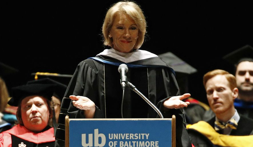 Education Secretary Betsy DeVos spoke at the University of Baltimore's fall commencement on Monday. (Associated Press)