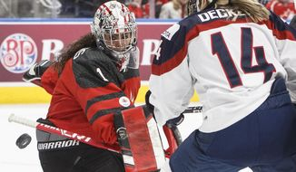 Team Canada goalie Shannon Szabados (1) makes the save as Team USA's Brianna Decker (14) looks for the rebound during first-period National Women's Team series hockey game action in Edmonton, Alberta, Sunday Dec. 17, 2017. (Jason Franson/The Canadian Press via AP)