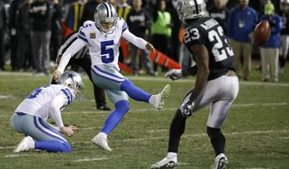 Dallas Cowboys kicker Dan Bailey (5) kicks a field goal from the hold of Chris Jones against the Oakland Raiders during the second half of an NFL football game in Oakland, Calif., Sunday, Dec. 17, 2017. The Cowboys won 20-17. (AP Photo/Eric Risberg)