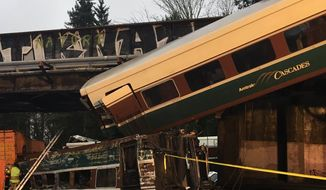 Washington State Police Trooper Brooke Bova, a public information officer, tweeted this photo of the derailment.