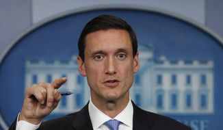 In this Sept. 11, 2017, file photo, White House homeland security adviser Tom Bossert speaks during the daily news briefing at the White House, in Washington. Trump's administration is publicly blaming North Korea for a ransomware attack that infected hundreds of thousands of computers worldwide in May and crippled parts of Britain's National Health Service. (AP Photo/Carolyn Kaster, File)
