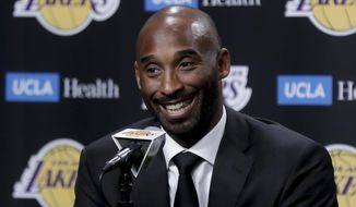 Former Los Angeles Laker Kobe Bryant talks during a news conference before an NBA basketball game between the Los Angeles Lakers and the Golden State Warriors in Los Angeles, Monday, Dec. 18, 2017. Bryant will get his jersey retired during the halftime show. (AP Photo/Chris Carlson)