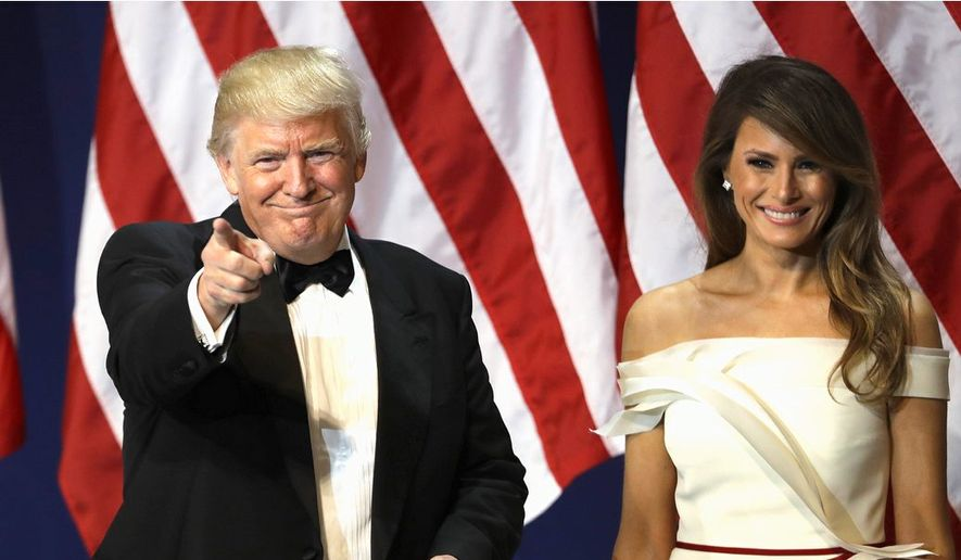 "The press had pondered the possibility of a ""shadow government"" against President Trump even before he was even inaugurated. Mr. Trump and first lady Melania Trump are seen here at an inaugural gala. (Associated Press)"