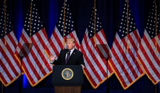 """President Trump decribed Russia and China as """"rival powers"""" challenging """"American influence, values and wealth"""" on Monday during his speech on national security. (Associated PRess)"""