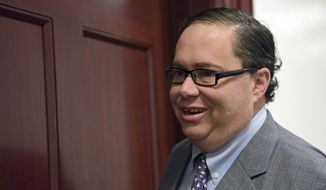 Rep. Blake Farenthold, R-Texas, arrives for a meeting of House Republicans on Capitol Hill in Washington, Tuesday, Dec. 19, 2017. (AP Photo/Susan Walsh) ** FILE **