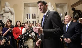 Speaker of the House Paul Ryan, R-Wis., joined at right by House Ways and Means Committee Chairman Kevin Brady, R-Texas, meets reporters just after passing the Republican tax reform bill in the House of Representatives, on Capitol Hill, in Washington, Tuesday, Dec. 19, 2017. The vote, largely along party lines, was 227-203 and capped a GOP sprint to deliver a major legislative accomplishment to President Donald Trump after a year of congressional stumbles. (AP Photo/J. Scott Applewhite)