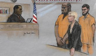 FILE - In this June 19, 2015, file, courtroom sketch, David Wright, second from left, is depicted standing before Magistrate Judge Donald Cabell, left, with attorney Jessica Hedges, second from right, and Nicholas Rovinski, right, during a hearing in federal court in Boston. Prosecutors will ask the judge on Tuesday, DEc. 19, 2017, in Boston to sentence 28-year-old Wright to life in prison for his role in the plot to kill Pamela Geller. The plot was never carried out. (Jane Flavell Collins via AP, File)