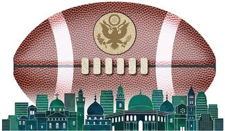 Political Football with Jerusalem Illustration by Greg Groesch/The Washington Times