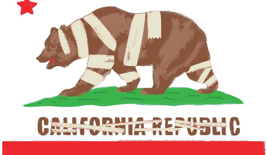 Illustration on problems in California by Linas Garsys/The Washington Times