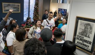 Protesters fill the waiting room of Senate Minority Leader Sen. Chuck Schumer, D-N.Y., to demand that the Senate pass a clean DREAM Act, on Capitol Hill, Tuesday, Dec. 19, 2017, in Washington. (AP Photo/Andrew Harnik)