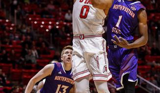 Utah guard Sedrick Barefield (0) scores against Northwestern State during an NCAA college basketball game in Salt Lake City, Wednesday, Dec, 20, 2017. (Trent Nelson/The Salt Lake Tribune via AP)