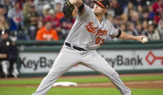 FILE - In this Sept. 12, 2017, file photo, Baltimore Orioles relief pitcher Zach Britton delivers against the Cleveland Indians during a baseball game in Cleveland. Orioles closer Zach Britton has torn an Achilles tendon in offseason training, a significant injury that could cause him to miss part of the 2018 season. Baltimore executive vice president of baseball operations Dan Duquette on Wednesday, Dec. 20, 2017,  confirmed the torn Achilles tendon. (AP Photo/Phil Long, File)