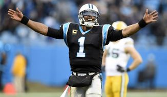 Carolina Panthers' Cam Newton (1) celebrates after a Green Bay Packers fumble during the second half of an NFL football game in Charlotte, N.C., Sunday, Dec. 17, 2017. (AP Photo/Mike McCarn)